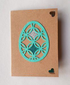 Картичка Великденско яйце синьо