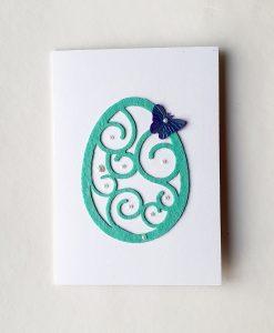 Картичка Великденско яйце с пеперуда